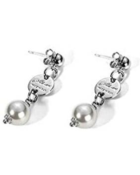 """orecchini con pendente di perla C. Paciotti linea """"silver system"""""""
