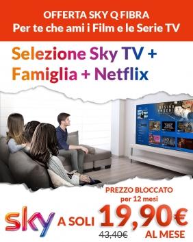 Offerta Sky Q Fibra | Sky TV + Famiglia + Netflix