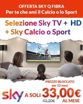 Offerta Sky Q Fibra | Sky TV + HD + Sport /Calcio